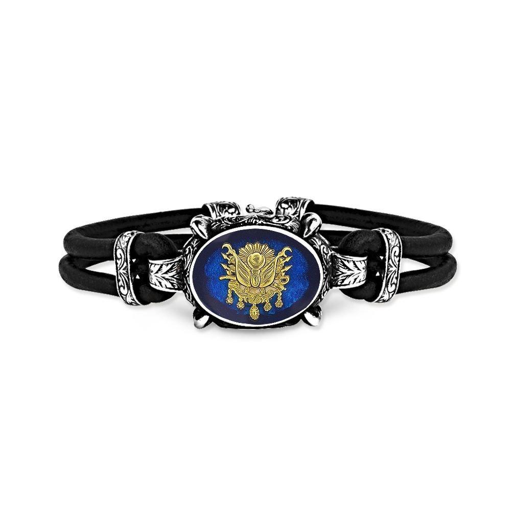 925 Ayar Gümüş Mavi Mineli Osmanlı Armalı Bileklik