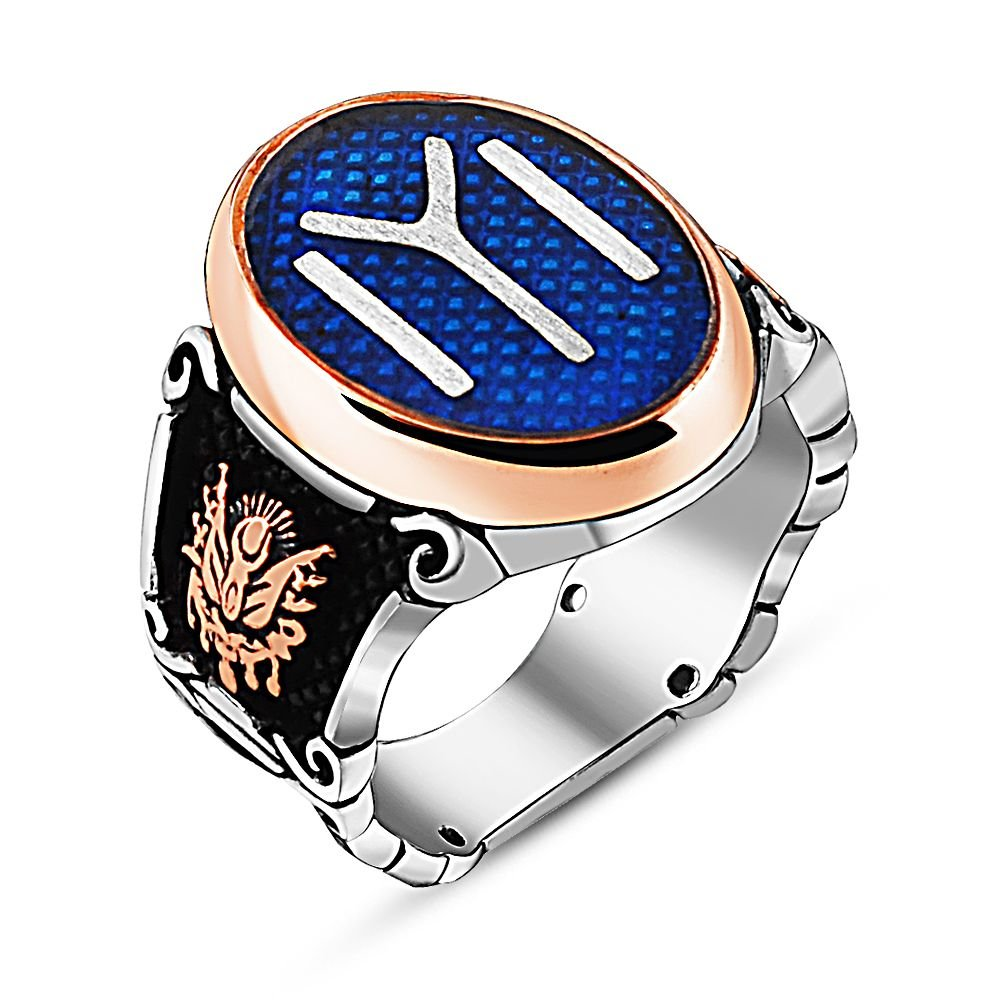 925 Ayar Gümüş Mavi Mineli Osmanlı Temalı Kayı Yüzük