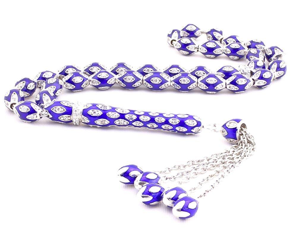 925 Ayar Gümüş Mavi Mineli Zirkon Taşlı Tesbih
