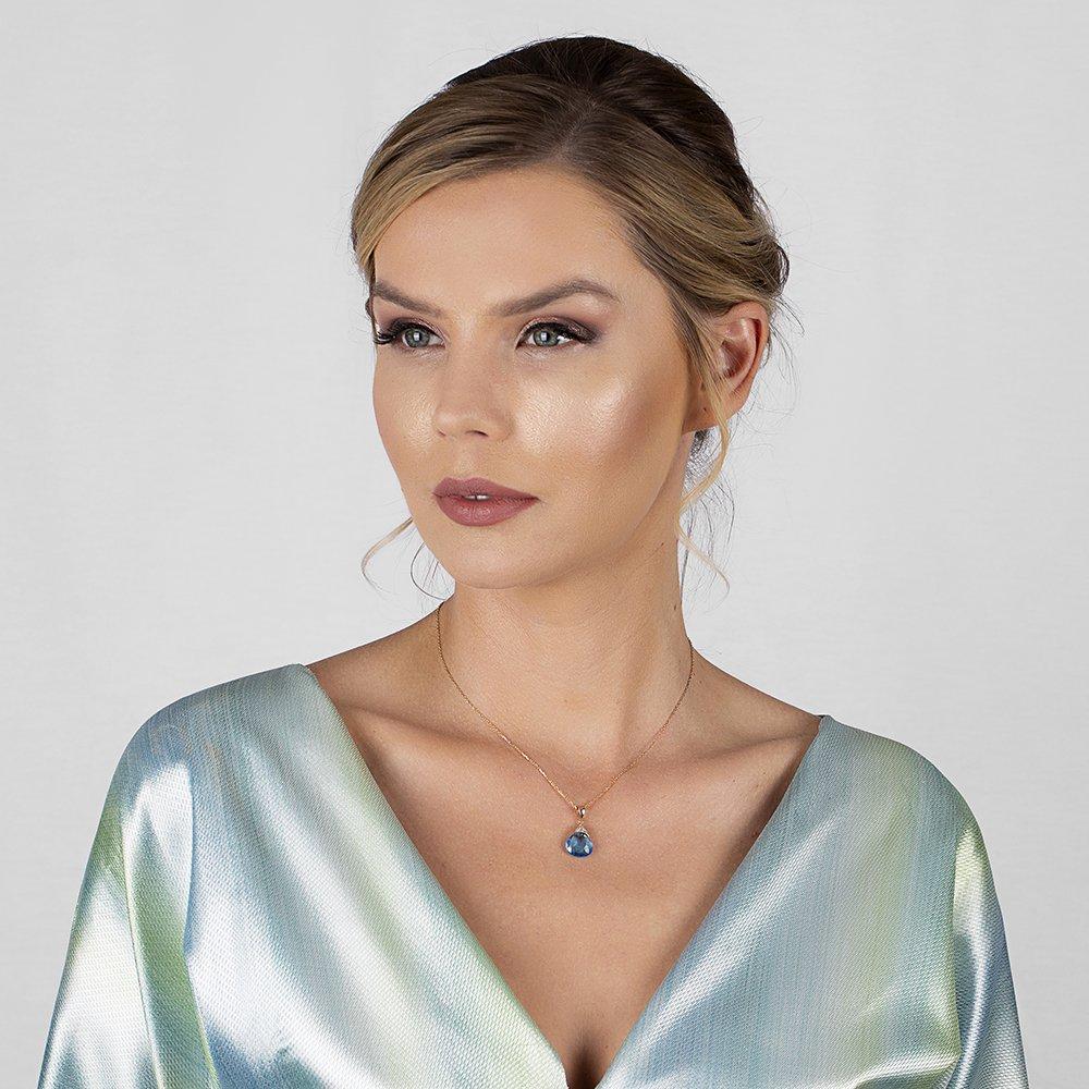 Mavi Zirkon Taşlı 925 Ayar Gümüş Bayan Kolye