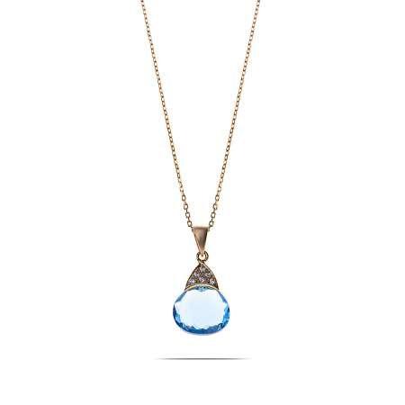 Mavi Zirkon Taşlı 925 Ayar Gümüş Bayan Kolye - Thumbnail