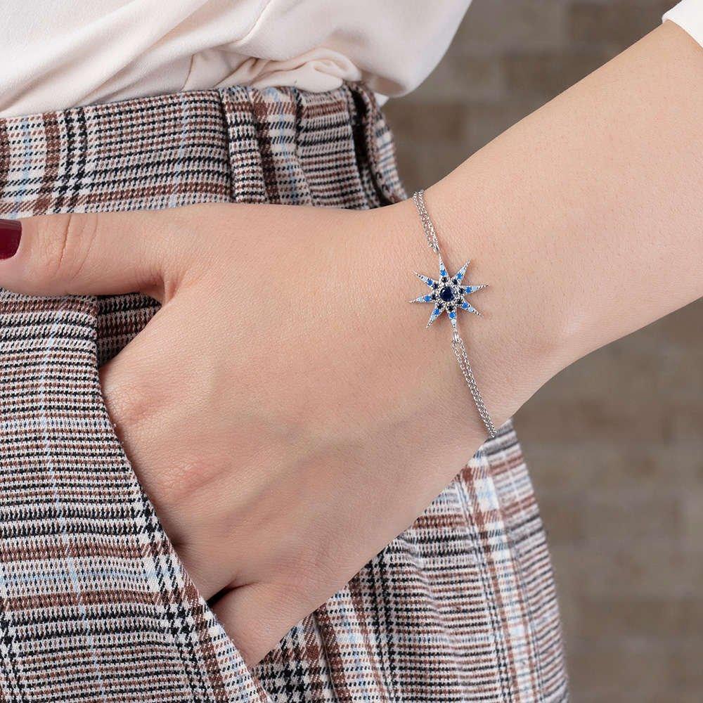 Mavi-Beyaz Zirkon Taşlı Yıldız Tasarım 925 Ayar Gümüş Bayan Bileklik