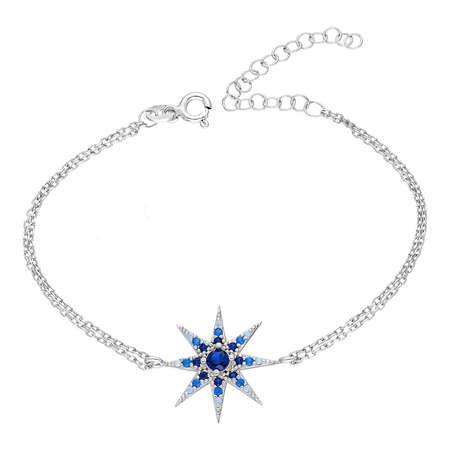 Mavi-Beyaz Zirkon Taşlı Yıldız Tasarım 925 Ayar Gümüş Bayan Bileklik - Thumbnail
