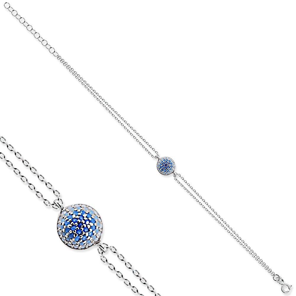 925 Ayar Gümüş Mavi Taşlı Yuvarlak Bileklik