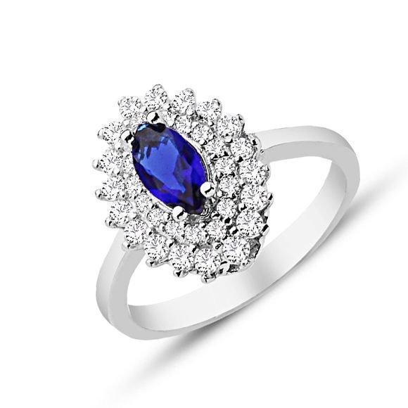 925 Ayar Gümüş Mavi ve Beyaz Zirkon Taşlı Yüzük