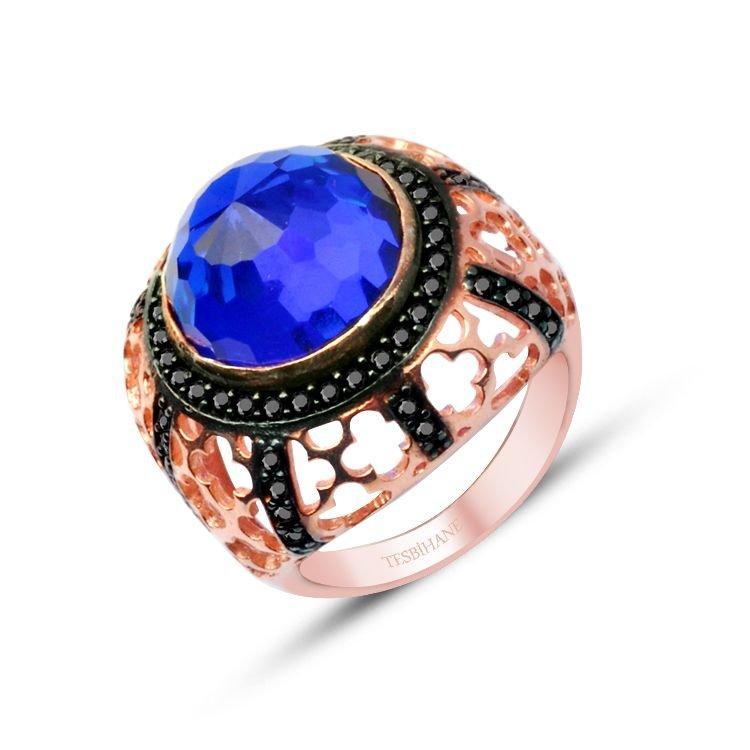 925 Ayar Gümüş Mavi ve Siyah Zirkon Taşlı Rose Yüzük