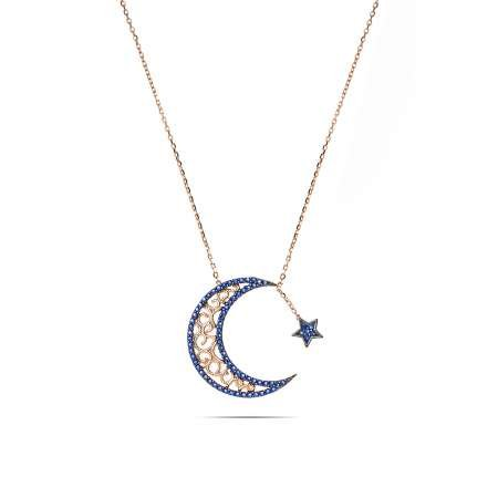 Mavi Zirkon Taşlı Ayyıldız Tasarım 925 Ayar Gümüş Bayan Kolye - Thumbnail