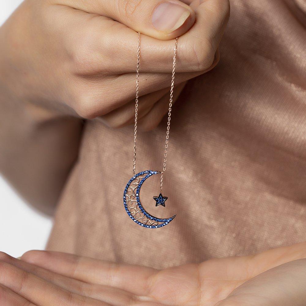 Mavi Zirkon Taşlı Ayyıldız Tasarım 925 Ayar Gümüş Bayan Kolye