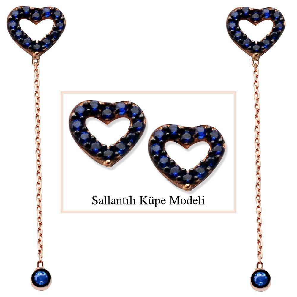 925 Ayar Gümüş Mavi Zirkon Taşlı Boş Kalp Model Japon Sallantılı Küpe (SRD00198)