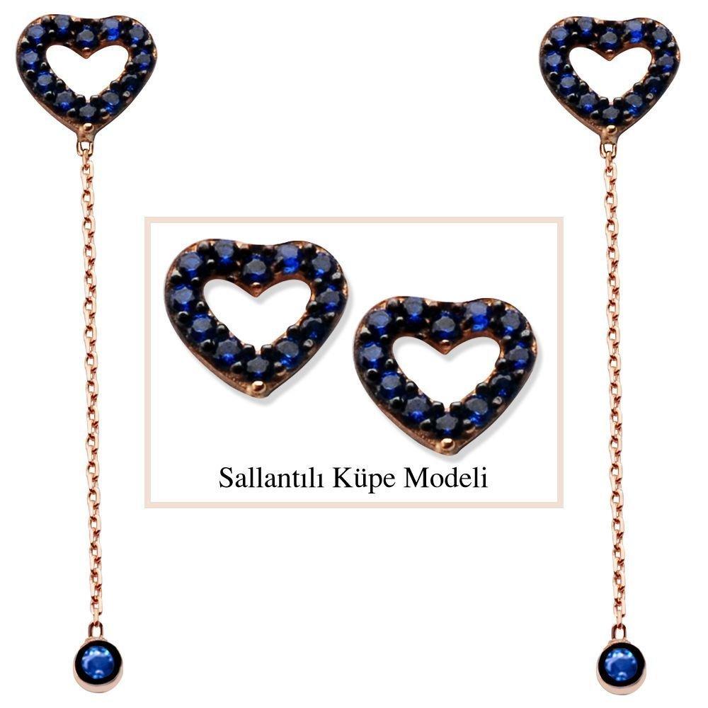 925 Ayar Gümüş Mavi Zirkon Taşlı İçi Boş Yıldız Model Japon Sallantılı Küpe