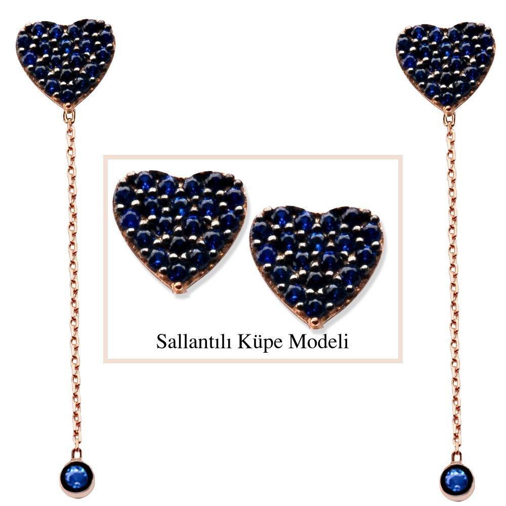 925 Ayar Gümüş Mavi Zirkon Taşlı Kalp Model Japon Sallantılı Küpe