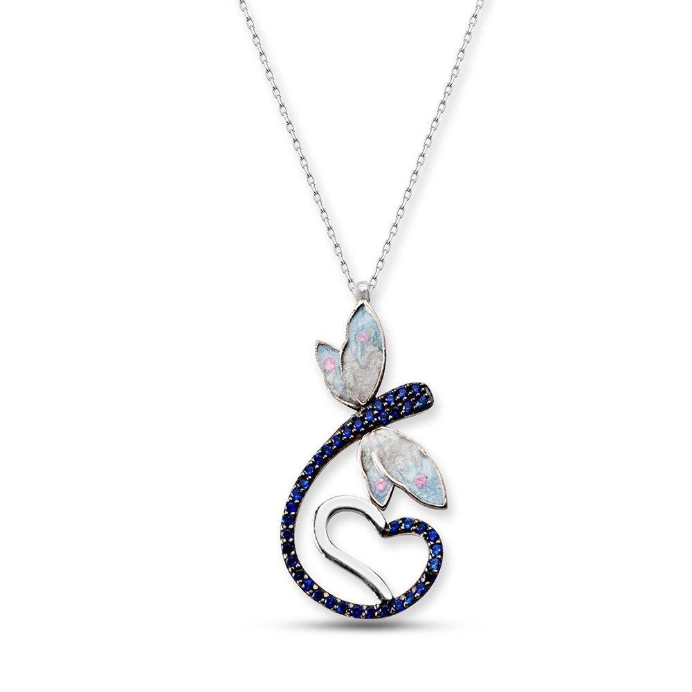 925 Ayar Gümüş Mavi Zirkon Taşlı Kalpli Yusufçuk Kolye
