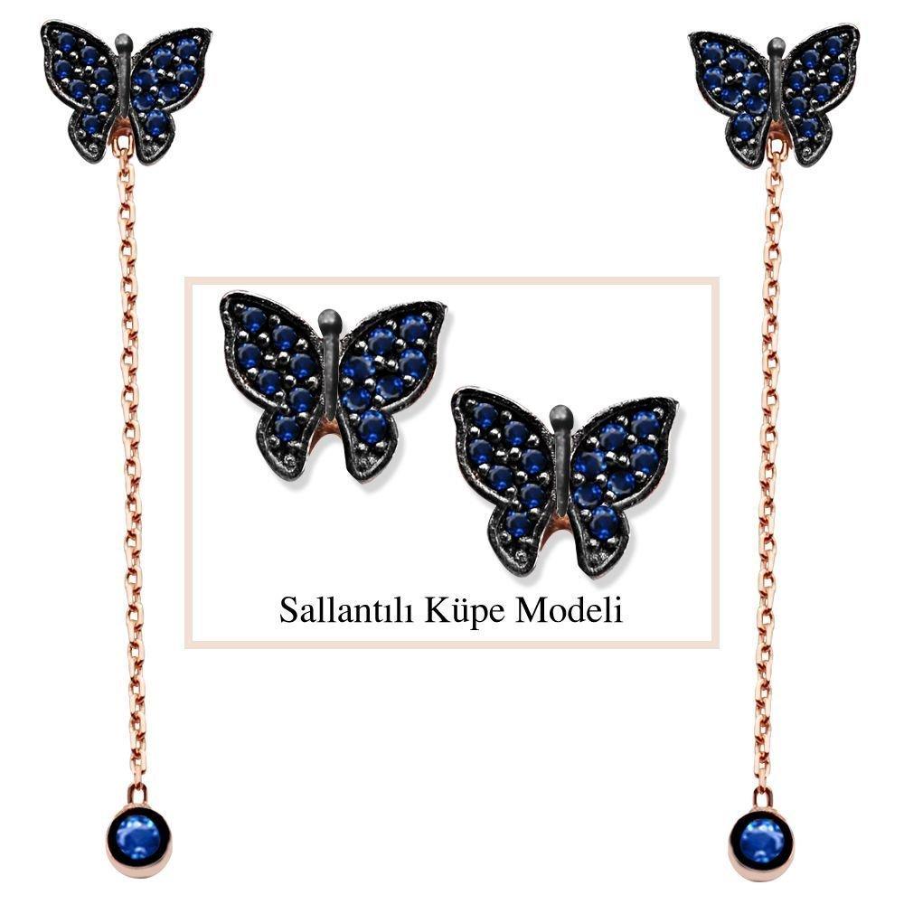 925 Ayar Gümüş Mavi Zirkon Taşlı Kelebek Model Japon Sallantılı Küpe