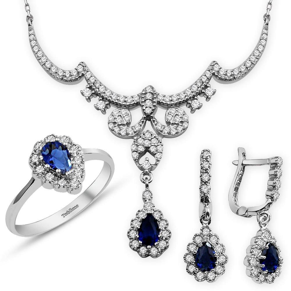 925 Ayar Gümüş Mavi Zirkon Taşlı Kraliçe Set
