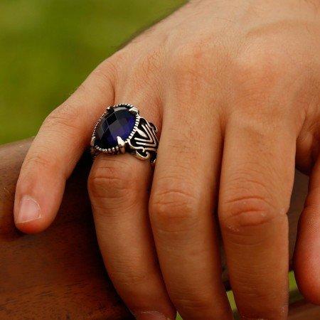 925 Ayar Gümüş Mavi Zirkon Taşlı Pençe Yüzük - Thumbnail