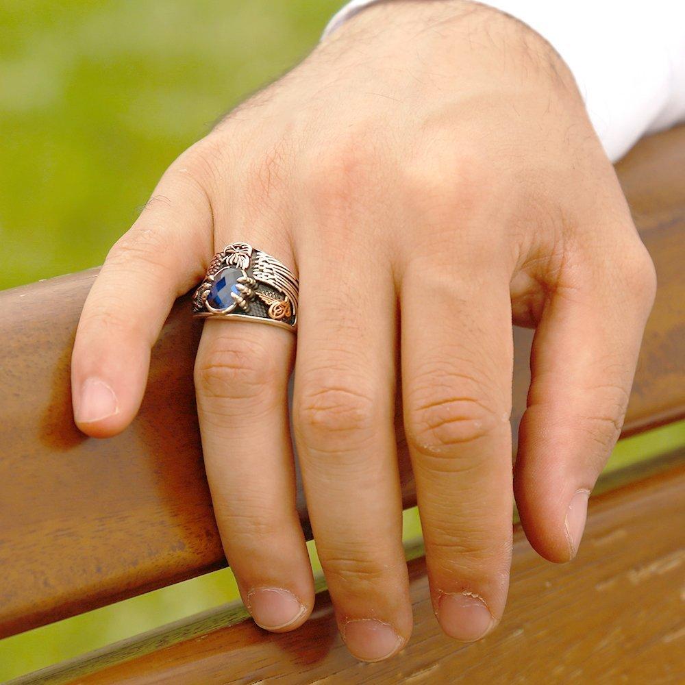 Mavi Zirkon Taşlı 925 Ayar Gümüş Son İmparator Yüzüğü