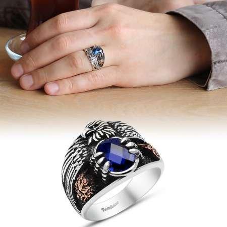 Mavi Zirkon Taşlı 925 Ayar Gümüş Son İmparator Yüzüğü - Thumbnail