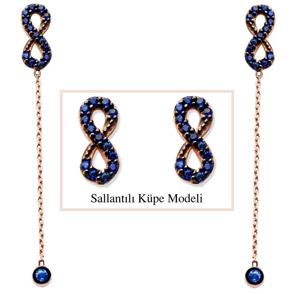 925 Ayar Gümüş Mavi Zirkon Taşlı Sonsuzluk Model Japon Sallantılı Küpe