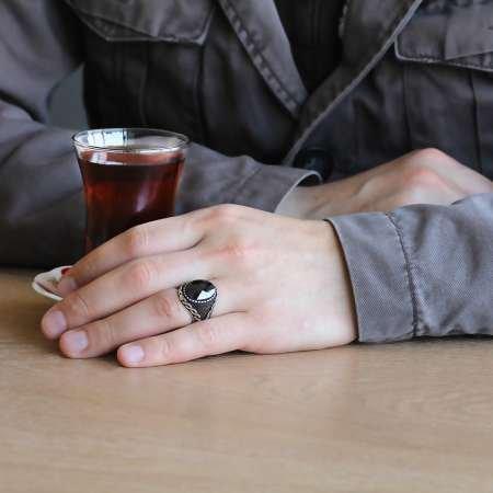 925 Ayar Gümüş Mikro Taş İşlemeli Siyah Zirkon Taşlı Erkek Yüzük - Thumbnail