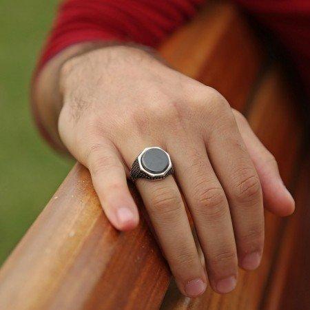 925 Ayar Gümüş Mikron Zirkon Taşlı Oniks Yüzük - Thumbnail