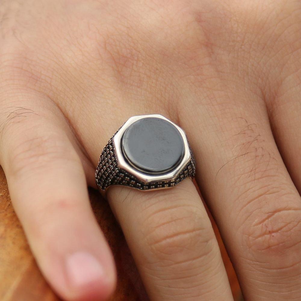 925 Ayar Gümüş Mikron Zirkon Taşlı Oniks Yüzük