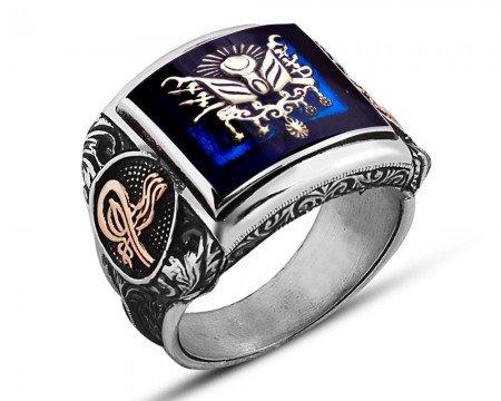 925 Ayar Gümüş Mineli Arma Desenli Yüzük - Thumbnail
