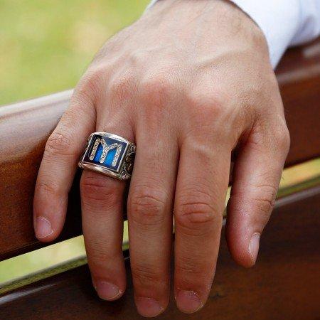 Tuğra İşlemeli Kayı Boyu Tasarım Mineli 925 Ayar Gümüş Erkek Yüzük - Thumbnail