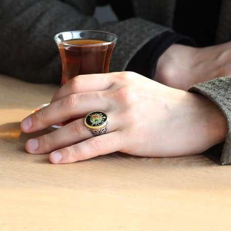 Osmanlı Devlet Armalı Mineli 925 Ayar Gümüş Erkek Yüzük - Thumbnail