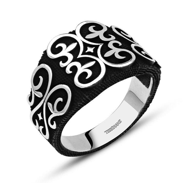 925 Ayar Gümüş Motifli Siyah Yüzük