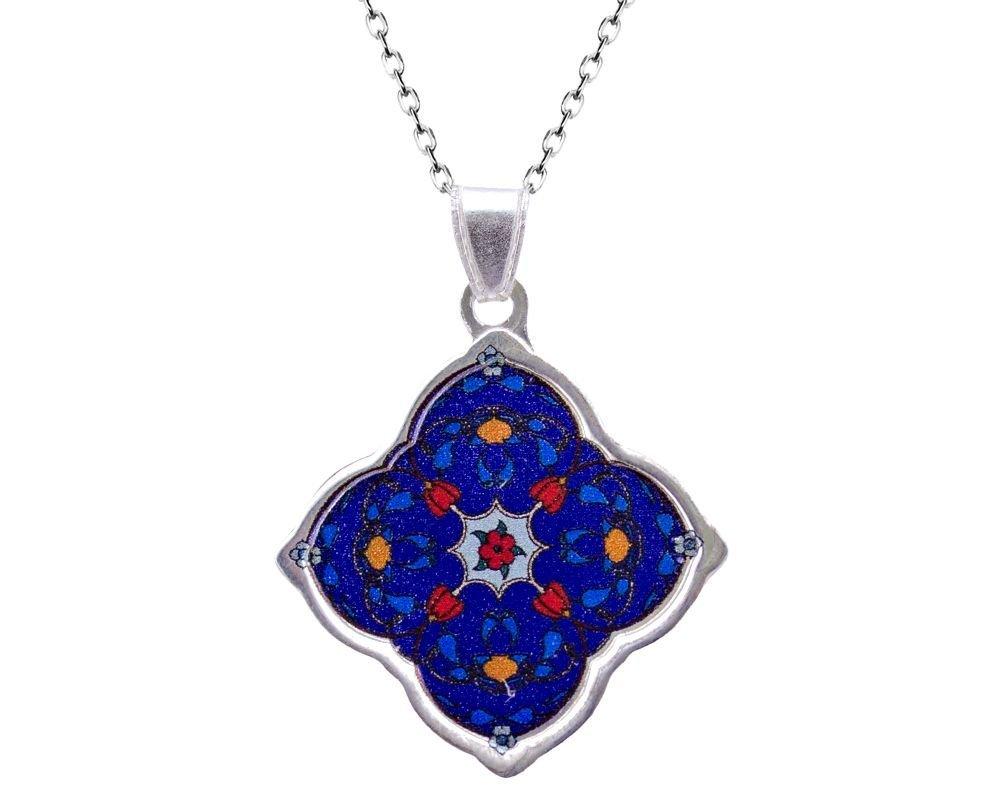 925 Ayar Gümüş Mozaik Desenli Kolye