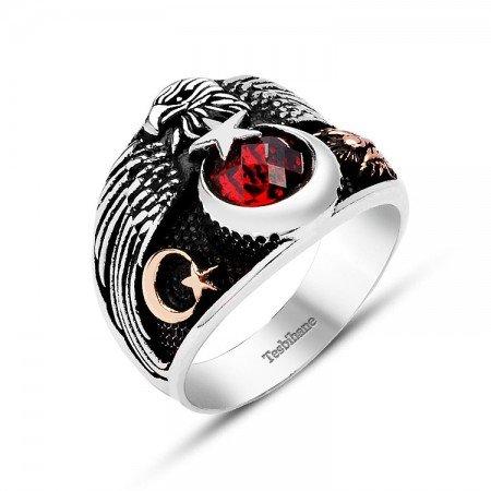 Ayyıldız Motifli Kırmızı Zirkon Taşlı 925 Ayar Gümüş Muhafız Kartal Yüzük - Thumbnail