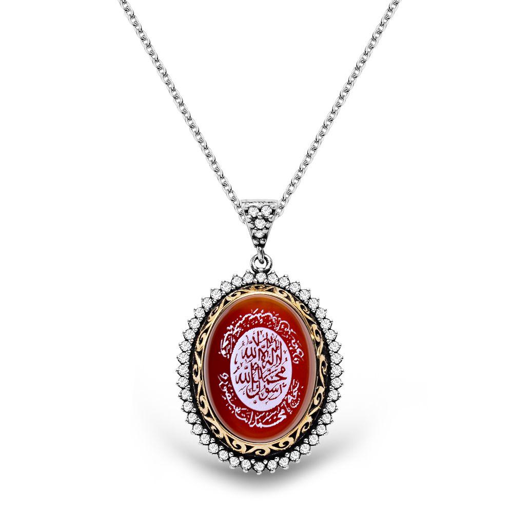 925 Ayar Gümüş Mührü Şerif Desenli Akik Taşlı Kolye