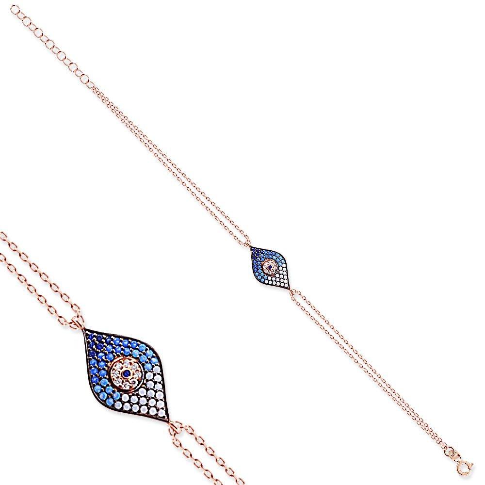 Mavi-Beyaz Zirkon Taşlı Göz Nazar Tasarım 925 Ayar Gümüş Bayan Bileklik