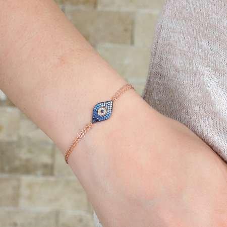 Mavi-Beyaz Zirkon Taşlı Göz Nazar Tasarım 925 Ayar Gümüş Bayan Bileklik - Thumbnail