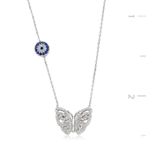 925 Ayar Gümüş Nazarlı Kelebek Kolye