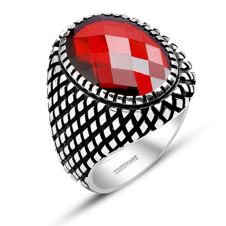 925 Ayar Gümüş Nokta Desenli Kırmızı Zirkon Taş Yüzük