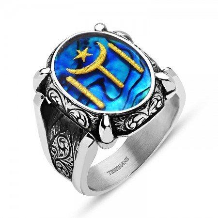 925 Ayar Gümüş Okyanus Sedefli Altın Varaklı Geleneksel Kayı Boyu Yüzük - Thumbnail