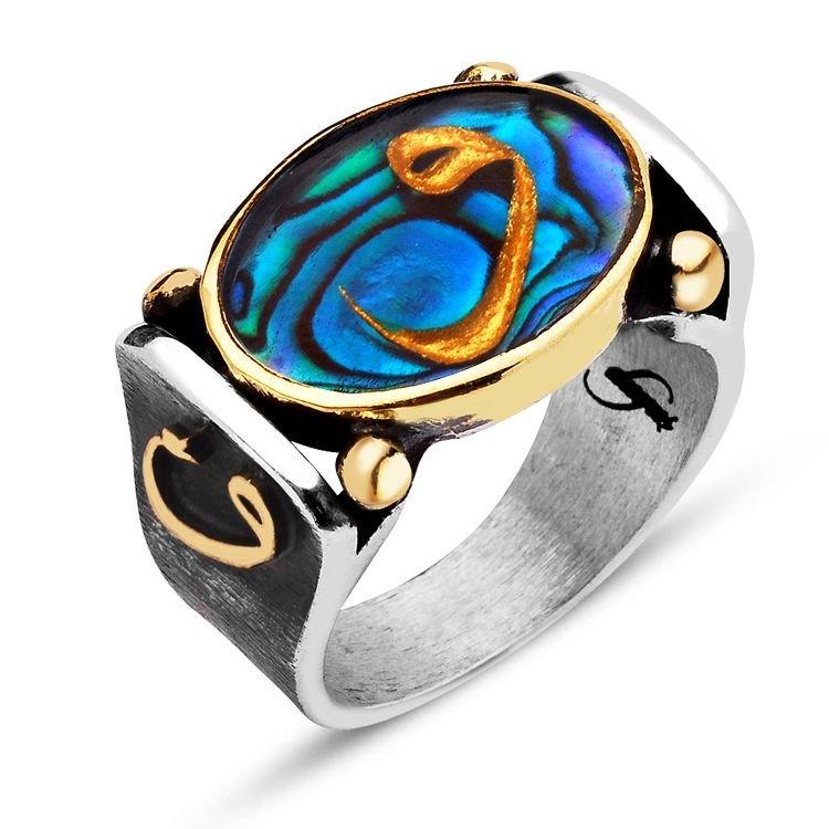 925 Ayar Gümüş Okyanus Sedefli Altın Varaklı Vav Harfli Yüzük