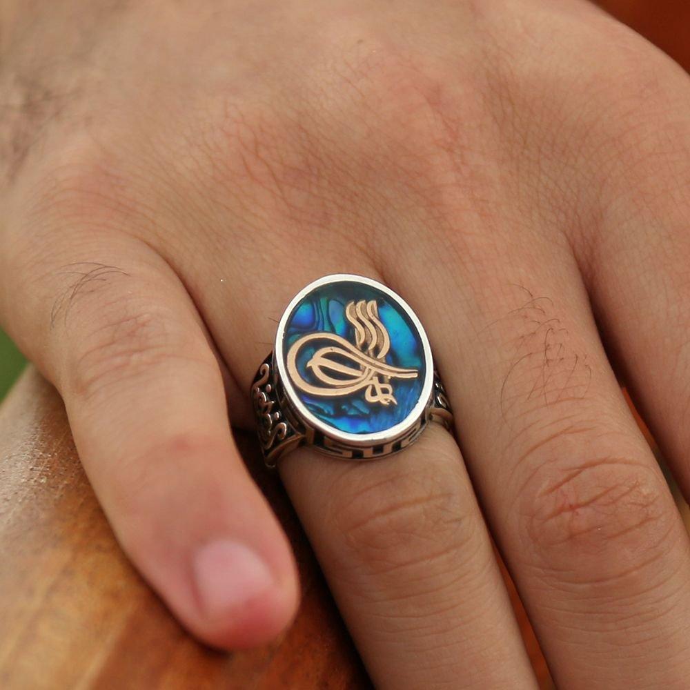 925 Ayar Gümüş Okyanus Sedefli Kaptan-ı Derya Yüzüğü