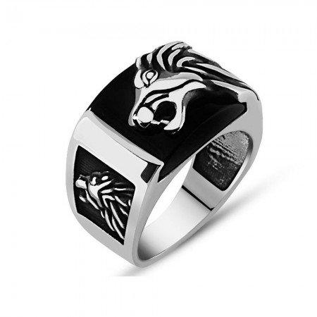 Aslan Motifli Siyah Oniks Taşlı 925 Ayar Gümüş Erkek Yüzük - Thumbnail