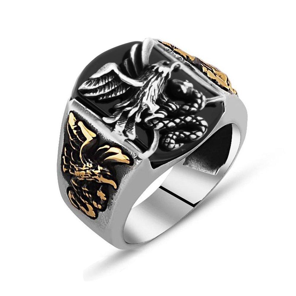 Kartal İşlemeli Siyah Oniks Taşlı 925 Ayar Gümüş Avcı Yüzüğü