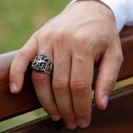 Kartal İşlemeli Siyah Oniks Taşlı 925 Ayar Gümüş Avcı Yüzüğü - Thumbnail