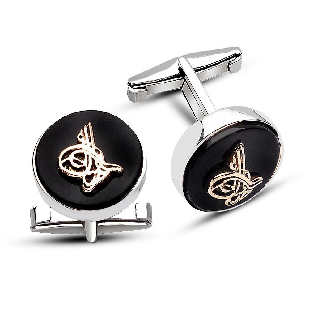 925 Ayar Gümüş Oniks Taşı Üzerine Tuğralı Sade Tasarım Kol Düğmesi