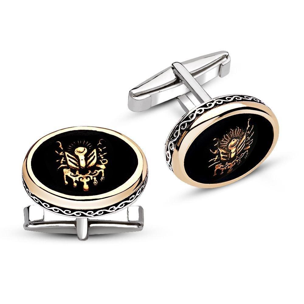 925 Ayar Gümüş Oniks Taşlı Arma Model Kol Düğmesi