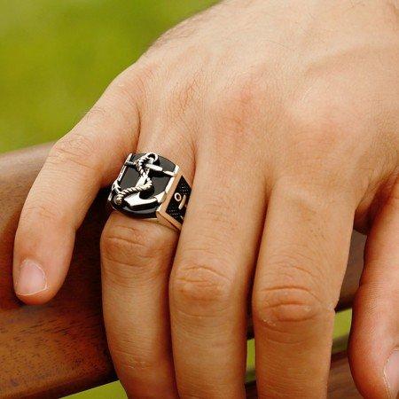 Çapa Motifli Siyah Oniks Taşlı 925 Ayar Gümüş Erkek Yüzük - Thumbnail