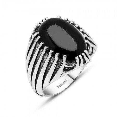 925 Ayar Gümüş Oniks Taşlı Desenli Yüzük - Thumbnail