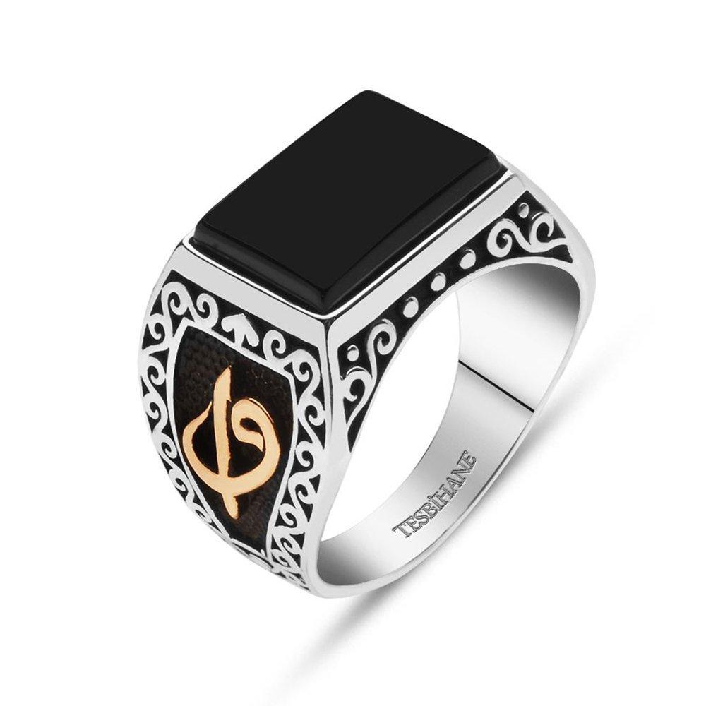 925 Ayar Gümüş Oniks Taşlı Elif Vav Yüzük