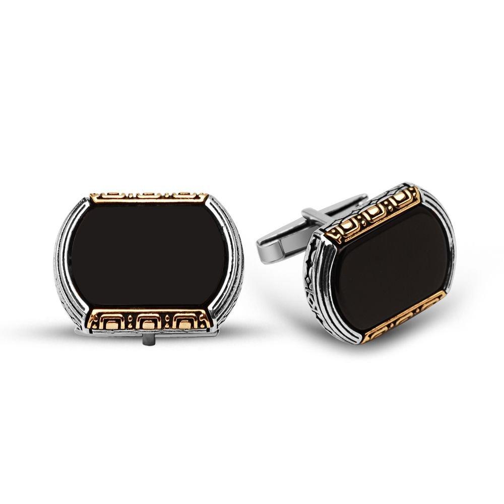 925 Ayar Gümüş Oniks Taşlı Kol Düğmesi (model 1)
