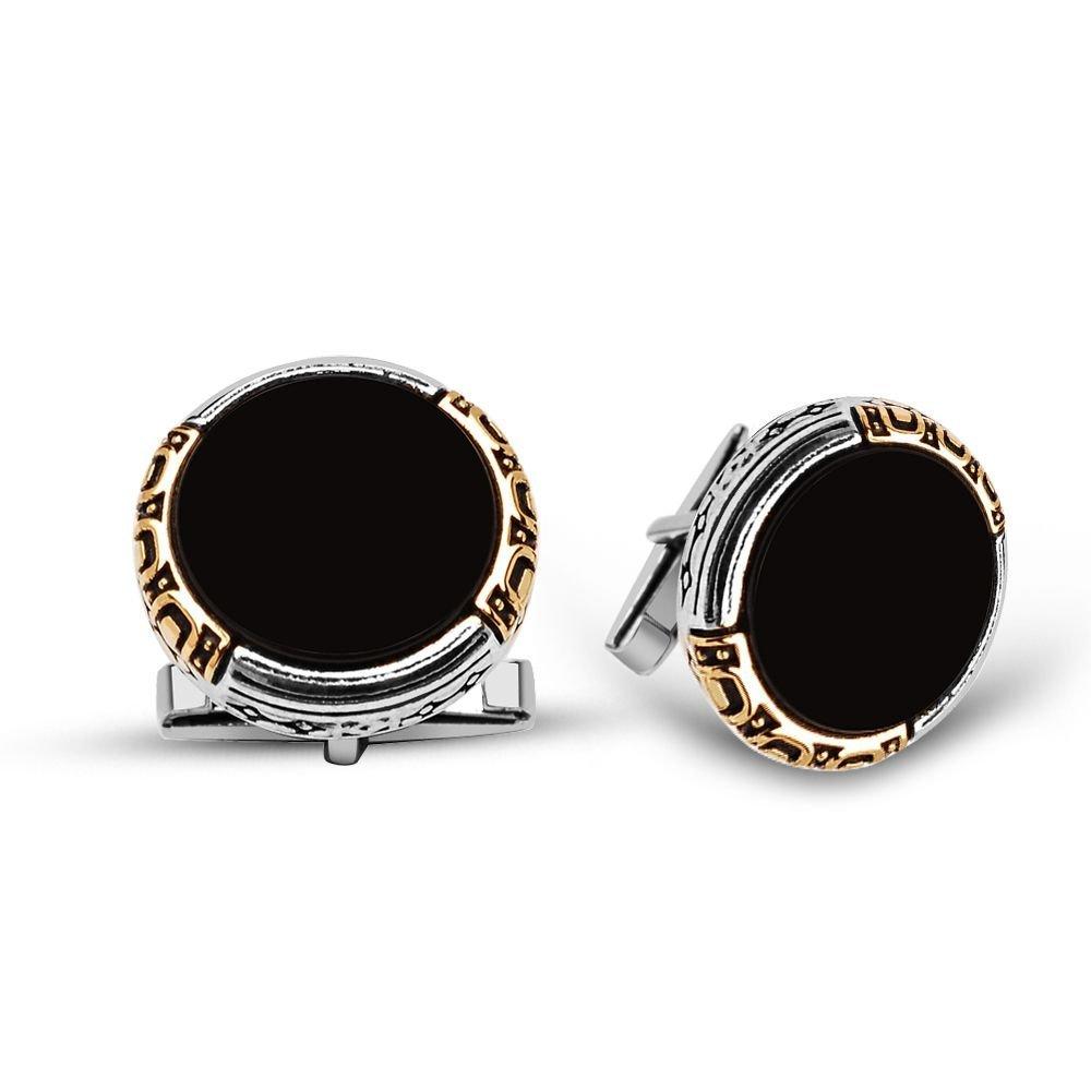 925 Ayar Gümüş Oniks Taşlı Kol Düğmesi (model 2)
