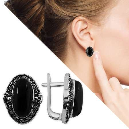 Siyah Oniks Taşlı Özel Tasarım 925 Ayar Gümüş Küpe - Thumbnail